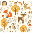 Cute autumn forest pattern vector image