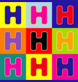 letter h sign design template element pop vector image