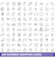 100 summer shopping icons set outline style vector image