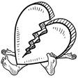 doodle squish heart broken vector image vector image