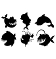 Six silhouettes of fishes with big fangs vector image vector image