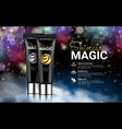black cream bottles on black magic background vector image