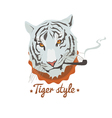 blue smoking tiger vector image vector image