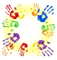 background with multicolored handprints vector image