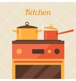 Card with kitchen oven and cooking utensils in vector image