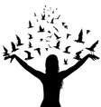 Learning to fly concept with silhouettes of woman vector image