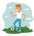physical education - boy playing soccer sport vector image