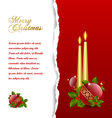 ripped christmas card with balls vector image
