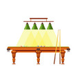 wooden table for pool with long cues and lamps vector image