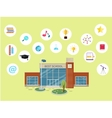 Set of School Icons Building Book Devices vector image
