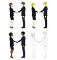 business woman and man hand shake vector image