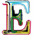 Grunge colorful font Letter E vector image vector image