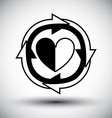 Heart surrounded by arrows simple single color vector image
