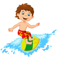 Kids play surfing on surfboard over big wave vector image