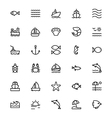 Sea Line Icons 1 vector image