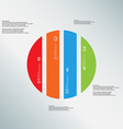 Circle template consists of four color parts on vector image
