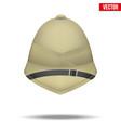 cork helmet hat for safari or explorer vector image