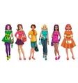 Cute cartoon fashion girls set vector image