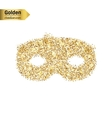 Gold glitter icon of mask isolated on vector image