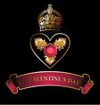 Golden Crown heart symbol vector image