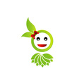 Happy smiley with green leaves vector image