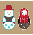 Matryoshka Doll And Snowman vector image