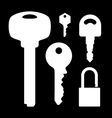 Set of keys lock on black background vector image