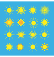 Sun icons set blue vector image