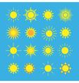 Sun icons set blue vector image