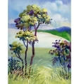 Watercolor natural summer wood landscape vector image