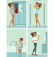 Woman in swimming pool vector image
