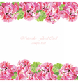 Watercolor geranium flowers card vector image