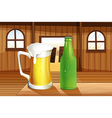 A beer and a bottle of softdrink at the table vector image