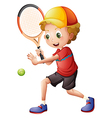 A cute little boy playing tennis vector image vector image