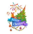 Merry Christmas banner with pine gifts and vector image