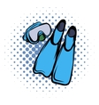 Blue flippers comics icon vector image