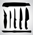 Set of Knifes silhouettes vector image vector image