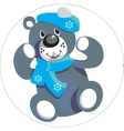 Bear with snowflake color 01 vector image