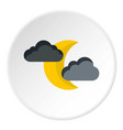 crescent moon and clouds icon flat style vector image