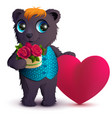 pretty black bear holds basket bouquet red rose vector image