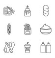 snacks icons set outline style vector image