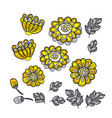 yellow decorative stylized floral fall vector image