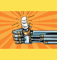 thumb up like gesture the robot hand is bandaged vector image