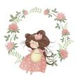 Cute girl in flower wreath vector image