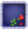 Napkin from jeans fabric with fringe vector image