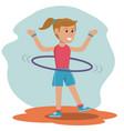 character girl doing hula hoops play vector image
