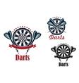Darts sport game emblems and symbols vector image