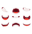 different emotions of cartoon mouths with funny vector image