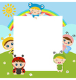 Kids with large sheet of paper vector image