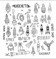 rocket set hand drawn vector image